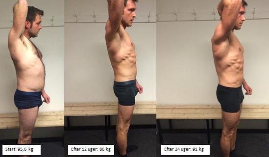 Jacobs muskeløgning fra siden på 24 uger