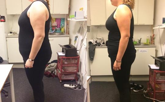 Annas vægttab fra siden på 9 uger