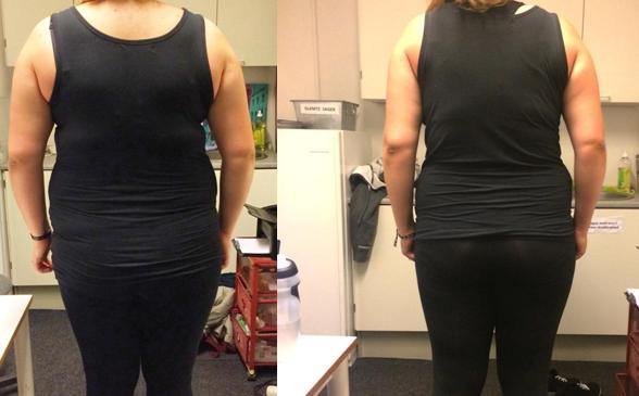 Annas vægttab bagfra på 9 uger