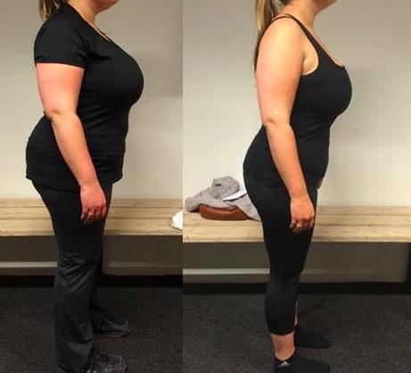 Annes vægttab fra siden på 12 uger