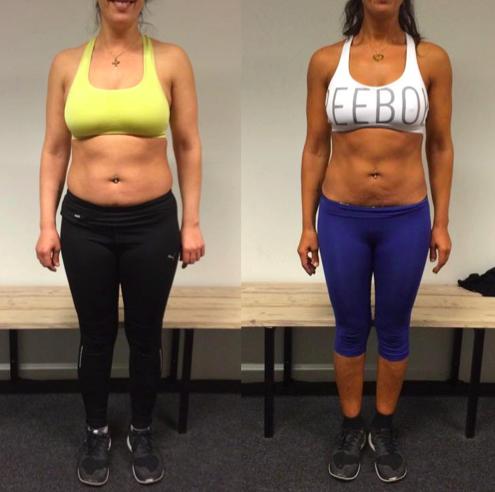 Daniella's vægttab forfra på 12 uger