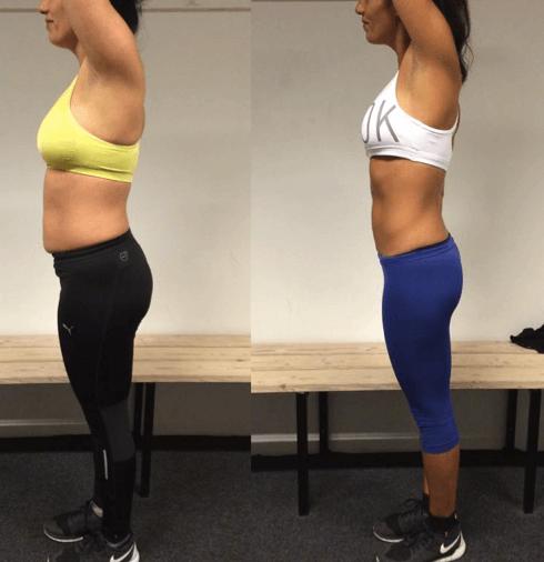 Daniella's vægttab fra siden på 12 uger