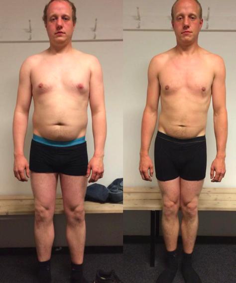 Michael's vægttab forfra på 12 uger
