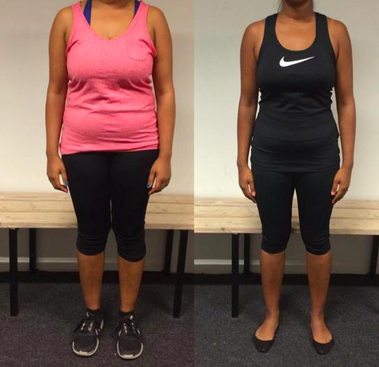 Helene's vægttab forfra på 12 uger