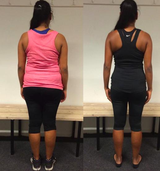 Helene's vægttab bagfra på 12 uger