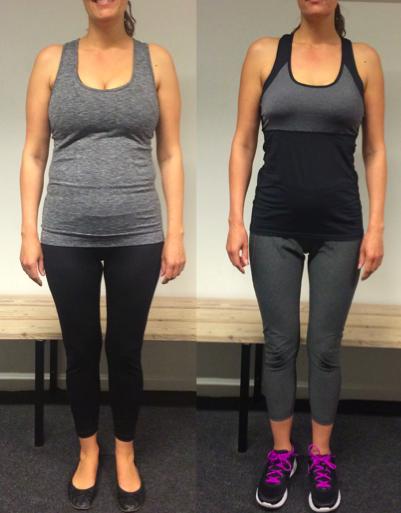Jeanita's vægttab forfra på 12 uger