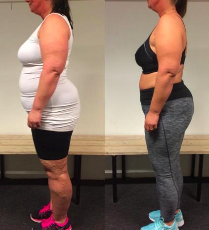 Anne's vægttab fra siden på 19 uger
