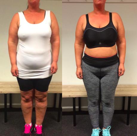 Anne's vægttab forfra på 19 uger