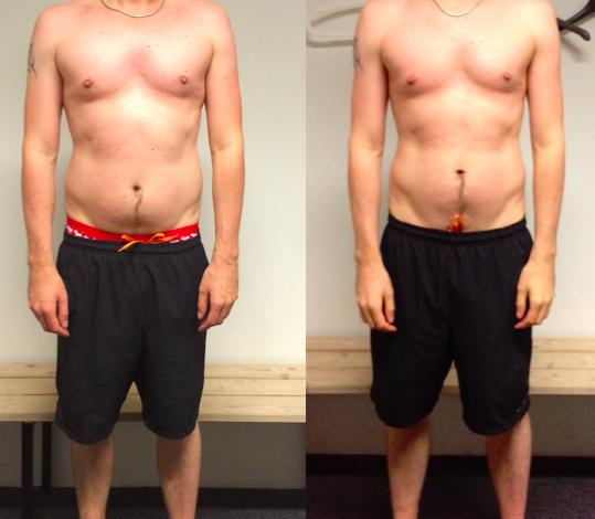 Toke's vægttab forfra på 10 uger