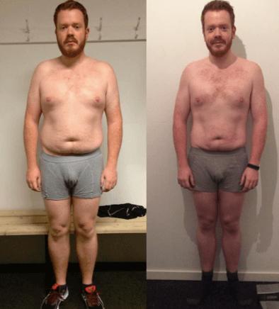 Erik's vægttab forfra på 20 uger