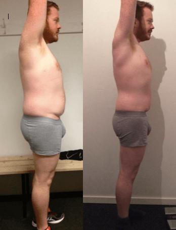 Erik's vægttab fra siden på 20 uger
