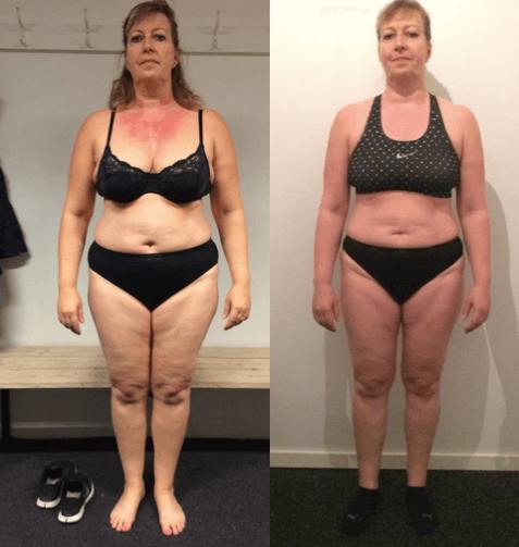 Ina's vægttab forfra på 20 uger