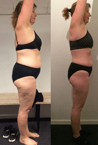 Ina's vægttab fra siden på 20 uger