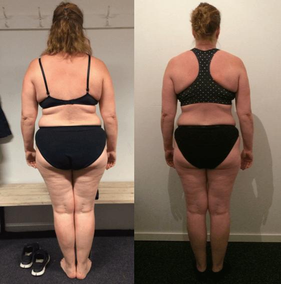 Ina's vægttab bagfra på 20 uger