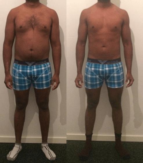 Prasath's vægttab forfra på 9 uger
